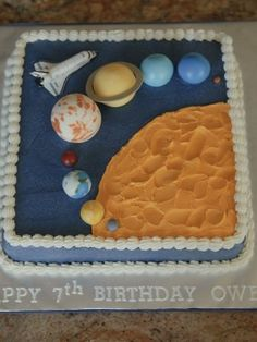Solar System square cake covered in buttercream with fondant planets. Solar System Cake, 5th Birthday Party Ideas, Birthday Cakes, Planet Cake, Galaxy Cake, Cake Cover, Holiday Cakes, Diy Cake, Cute Cakes