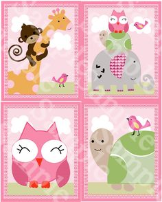 Set of 4 Sprinkles Jungle/ Girl Animals by PersonalizedbyDiane