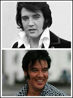 [Doppleganger] TOP: The real Elvis, 1970  BOTTOM: Kjell Elvis (Norway), one of the better-known Elvis look-alikes in Europe