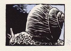 snail - linocut print - Frank Simon, U.S.A.