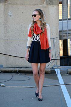 cute girly skater skirt and graphic sweater!   seekwandershare.com