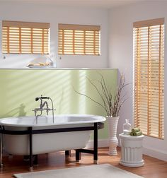 Bali® 2 Faux Wood Blinds: Shown in Natural with Wheat Cloth Tapes and Eloquence Valance Bathroom Window Treatments, Custom Window Treatments, Bali Blinds, Motorized Blinds, Blinds Design, Faux Wood Blinds, Shades Blinds, Chic Bathrooms, Wood Slats