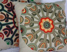 by Prints charming...  Kaleidoscope Cushion Jute...  This panel is hand printed on 100% linen using a lovely jute colour. You then embellish painting with threads and stitches to create your own wonderful artwork. Kit includes all that you need to get started, the panel and 14 skeins of floss threads, in same colours as photo. Prints Charming stitch booklet and photo also included Hand Painted Fabric, Cushions, Pillows, Fabric Painting, Unique Art, Booklet, Jute, Needlepoint, Hand Embroidery
