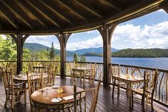 Enjoy lakeside dining at the Lake Placid Lodge in the Ariondacks.