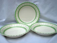 "VINTAGE ART DECO BRITISH ANCHOR COTTAGE GREEN THREE CEREAL / SOUP BOWLS LARGE (06/24/2012)Size approx. 8.2"" ( 21cm ) diameter"