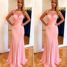 Trumpet/Mermaid Sleeveless Natural Zipper Floor-Length Chiffon Prom Dresses 2017