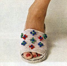 Beaded Slipper crochet pattern from Cottons You'll Love, originally published by Coats & Clark's O.N.T., Book No. 313, from 1955.