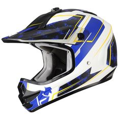 "Youth Off Road Matte Blue ""Stain"" Sport ATV, Motocross, Dirt Bike Motorcycle Helmet by Triangle [DOT] (Large). Youth Helmet. DOT Approved. Advanced ABS shell with high pressure thermoplastic technology. Multi Density EPS liner. Ventilation system with top and rear extractors liner. Fully removable, washable and anti-bacterial interior liner."