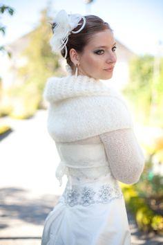 Capeline mariage hiver mohair Anaïs