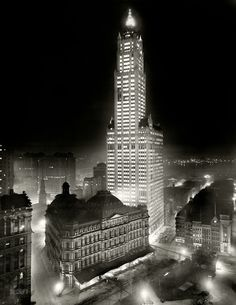 """New York noir circa 1913. """"The Woolworth Building at night."""" 8x10 inch dry plate glass negative, Detroit Publishing Company."""