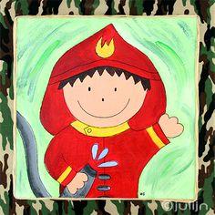 De brandweerman, geschilderd op legergroen stof. 40x40cm. te koop via www.julijn.nl