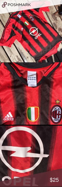 Adidas AC Milan Opel Soccer Jersey ⚽️Features authentic AC Milan shield logo and Adidas logo on the front ⚽️embroidered Italian flag patch     ⚽️100% polyester ⚽️made in Portugal ⚽️slight peeling of the front graphic photographed ⚽️runs small, fits more like US size L ⚽️⚽️⚽️⚽️((futball, football, sports, vintage, dryfit, new balance, Nike, puma, reebok, World Cup)) adidas Shirts Tees - Short Sleeve
