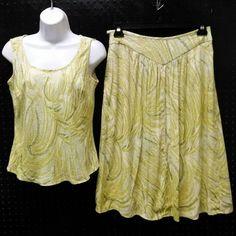 Kasper 2 pc Skirt Blouse Set Lt Yellow Green Leaves Size 6  B251 #Kasper…
