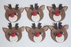Fondant Cupcake Toppers Quantity - 12 Design - Red-nosed reindeer cupcake toppers (please let me know if youd like some with different colored noses) Size - Approximately 2 inches Order Lead Time - I recommend ordering 3 weeks in advance of your event, but can often fulfill orders
