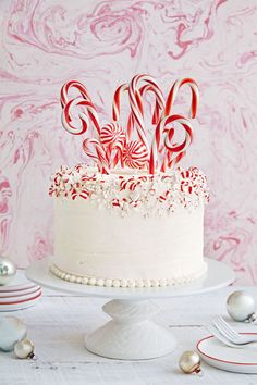 Candy Cane Forest Cake: Twirl up a white cake covered with crushed peppermints and candy canes.