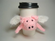 Flying Pig Cup Cozy by SewcialGraces on Etsy Crochet Pig, Crochet Crafts, Piggies In A Blanket, Pig Crafts, Coffee Cup Sleeves, Clouded Leopard, Pig Party, Yarn Thread, Flying Pig