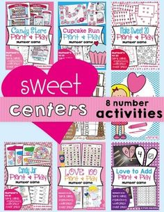 Valentine's Day Math CentersI have combined 8 of our fun and motivating math centers for you into one value-packed bundle.Here is what is included:Make Sweet 20  AdditionStudents will recognize number pairs within 20 (that add to total 20).Cupcake Run - Odd/EvenStudents will recognize dot pattern arrangements on a standard dice.Students will determine odd and even numbers.Candy Jar - Subtraction Students will subtract numbers in the range 10-1Candy StoreStudents will find combinations that… Activity Centers, Math Centers, Sweet Games, Valentines Day Coloring Page, Fun Math, Classroom Activities, Worksheets, Coloring Pages, Dots