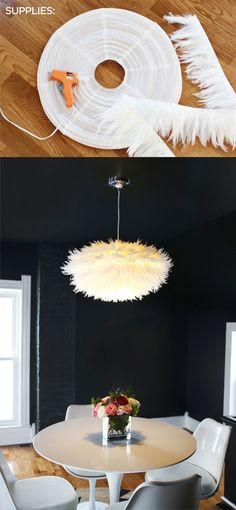 Esta es otra sencilla manera de crear lámparas colgantes partiendo de la clásica pantalla esférica de papel de arroz. No requiere mucho trabajo y como puedes ver en las imágenes, utilizando plumas y una pistola de silicona obtendrás en un momento un resultado muy ingenioso. Via abeatifulmess…
