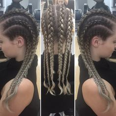 Tight Dutch braids (inside-out braids)