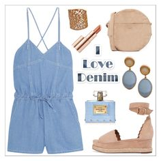 """""""Denim Outfit - Casual Chic - Evangelos Jewellery"""" by evanangel ❤ liked on Polyvore featuring Steve J & Yoni P, BAGGU, Chloé, Versace and Estée Lauder"""