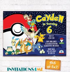 Pokemon Invitation Go Birthday Party Invite Battle Printables Supplies Pack Customized Digital File By