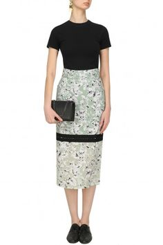 Quench Mist Green Floral Print Pencil Fitted Skirt #happyshopping #shopnow #ppus
