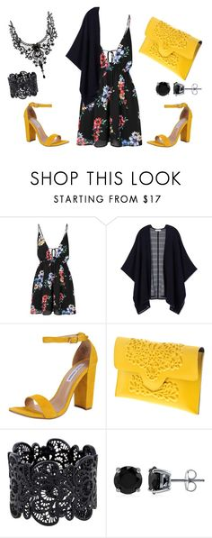 """""""Black & Yellow Flirt"""" by magikartz ❤ liked on Polyvore featuring Glamorous, Tory Burch, Steve Madden and BERRICLE"""