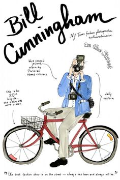 a whole series of fashion persoanlity illustrations. shown here bill cunningham