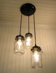 Back patio chandelier to hang over the outdoor dining table. On Etsy Vintage Canning Jar CHANDELIER. $169.00, via Etsy.