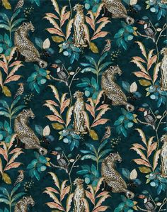 Savannah is the beautiful new wallpaper collection from Laura Hyden available at The Pattern Collective. Source by dance_sing_and_ wallpaper Teal Background, Iphone Background Wallpaper, Phone Wallpapers, Cheetah Wallpaper, Teal Print Wallpaper, Teal Tropical Wallpaper, Velvet Wallpaper, Feature Wallpaper, Botanical Wallpaper