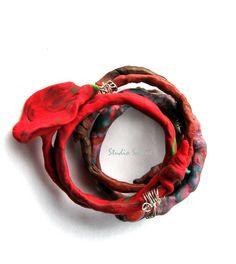 Artisan Jewelry wrap around red bracelet by StudioSabine on Etsy, $35.00