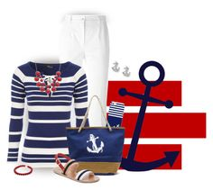 Nicely Nautical by stileclassico on Polyvore featuring Jane Norman, Dolce&Gabbana, Ancient Greek Sandals, FOSSIL, Casetify, sandals, bag and Nautical