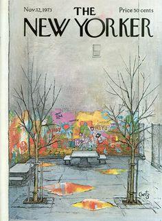 Arthur Getz : Cover art for The New Yorker 2543 - 12 November 1973 The New Yorker, New Yorker Covers, Old Magazines, Vintage Magazines, Vintage Ads, Vintage Photos, Cover Art, Magazine Art, Magazine Covers