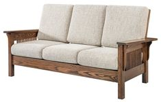 Amish Leah Mission Sofa - Quick Ship Sink into softness in this gorgeous mission sofa. Thick back and seat cushions will keep you comfy. Available Quick Ship with a build time of 2 to 3 weeks. Amish furniture for living room. #sofa #livingroom