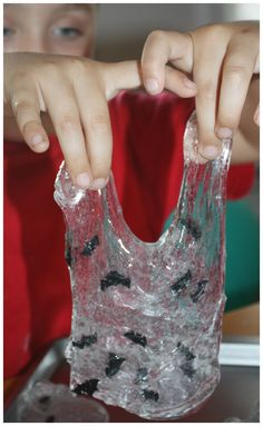 Bat easy slime sensory play flowing from fingers