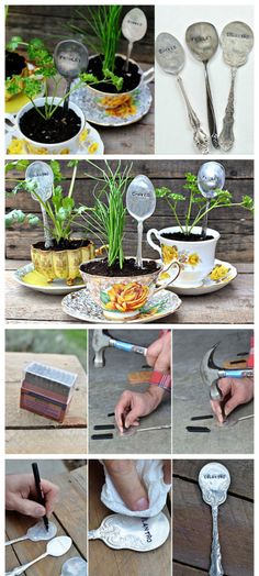 old cutlery re-use plant signs old lions - All For Herbs And Plants Garden Art, Garden Design, Diy Garden, Garden Markers, Plant Markers, Veggie Patch, Garden Terrarium, Organic Herbs, Air Plants