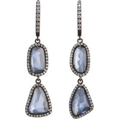 Monique Péan Blue Sapphire Slice & Pave Diamond Two-Tier Earrings ($13,880) ❤ liked on Polyvore