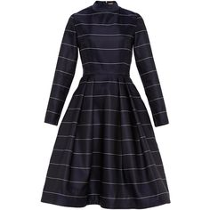 Katie Ermilio Pinstripe Mock Neck Tea Dress ($3,200) ❤ liked on Polyvore featuring dresses, katie ermilio, pinstripe dress, long sleeve knee length dress, tea party dresses, knee-length dresses and longsleeve dress