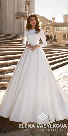27 Awesome Simple Wedding Dresses For Cute Brides ? simple wedding dresses a line with long sleeves modest elenavasylkova ? : 27 Awesome Simple Wedding Dresses For Cute Brides ? simple wedding dresses a line with long sleeves modest elenavasylkova ? Plain Wedding Dress, Groom Wedding Dress, Simple Wedding Gowns, Wedding Dresses With Flowers, Top Wedding Dresses, Wedding Dress Trends, Wedding Dress Sleeves, Gown Wedding, Wedding Cakes