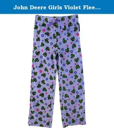 John Deere Girls Violet Fleece Pajama Pants (L (6X)). These John Deere girls purple fleece lounge pants are constructed to the same quality standards employed by John Deere since 1837. These John Deere fleece pants are perfect for lounging around, or sleeping! These cute girls John Deere pants have a throughout print of tiny John Deere tractors and cute flowers! Perfect for any John Deere girl!.