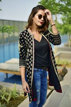 Indo western dresses for girls are a trending Outfit among girls and women. Adore the best indo western dresses for girls and ladies with us. Western Dresses For Girl, Western Outfits, Indian Fashion Trends, India Fashion, London Fashion, Indian Attire, Indian Wear, Indian Dresses, Indian Outfits