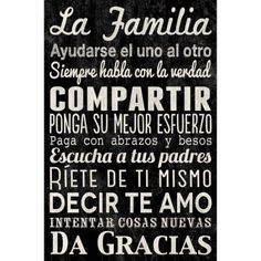 Canvas Wall Art Family Rules in Spanish, 21.5 inch x 32.5 inch, Black