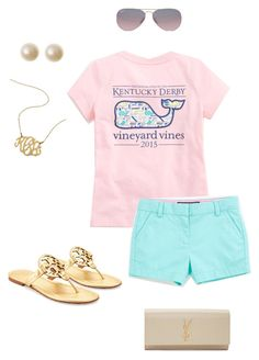 """Good mornin"" by thedancersophie ❤ liked on Polyvore featuring Vineyard Vines, Tory Burch, Yves Saint Laurent and Ray-Ban"