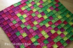 """Felted Button: """"""""Flying Colors Blanket Crochet Pattern Ta-Dah::"""