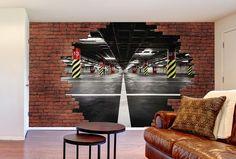 Le mur de briques rouges se casse pour découvrir un garage en perspective. BREAK PARKING