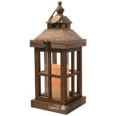Фонарь деревянный «Астрея» со светодиодной свечой, 36*14 см, орех, Kaemingk | Интернет магазин «Зимняя Сказка»