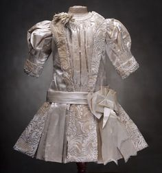 """Very Beautiful Rare Antique French Original Silk Dress for Jumeau Bru Steiner Bebe doll about 27"""""""