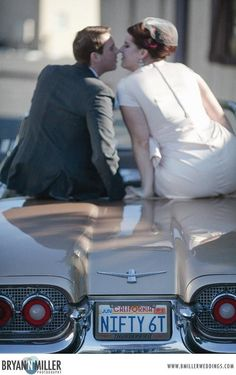 A sneak peek from our 60's Vow Renewal - with a 1960 convertible T-Bird! #midcentury #wedding