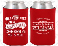 Sandy Feet and Salty Kisses, Cheers to Mr and Mrs, Personalized Wedding, Summer Wedding Favors, Beach Wedding, Beer Koozies(34)