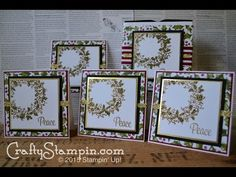 Stampin Up Peaceful Wreath gift set. Christmas cards and a gift box.